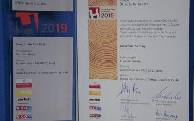 Holzpreis 2019 für Bioschule!